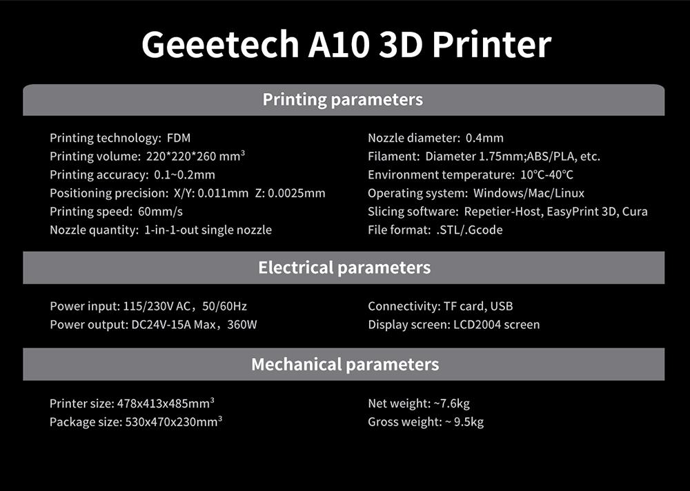 Caratteristiche tecniche Geetech A10