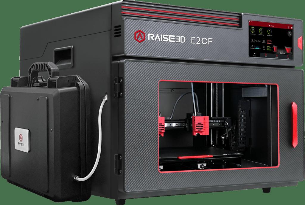 Basata sulla pluripremiata stampante Raise3D E2, la E2CF è progettata per stampare materiali caricati ed è ottimizzata per la fibra di carbonio.